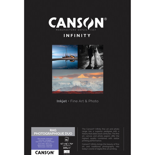 """Canson Infinity Rag Photographique Duo Paper (13 x 19"""", 25 Sheets)"""