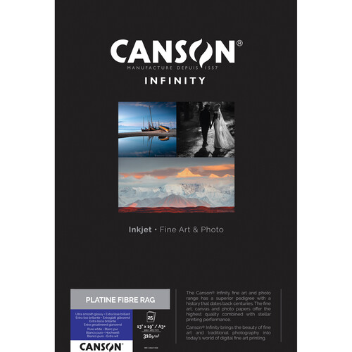 """Canson Infinity Platine Fibre Rag Paper (13 x 19"""", 25 Sheets)"""