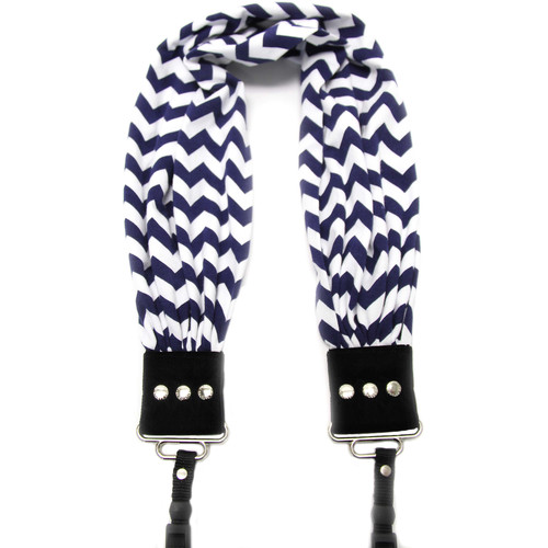 Capturing Couture Scarf Camera Strap (Navy & White Chevron)