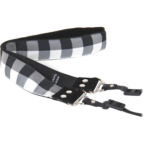 "Capturing Couture Buffalo Plaid 1.5"" Camera Strap (White)"