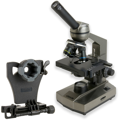 Carson MS-100 Biological Microscope & Universal Adapter for Smartphones Kit