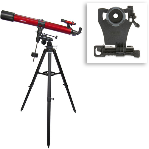 Carson RedPlanet 90mm f/11 Refractor EQ Telescope Digiscoping Kit