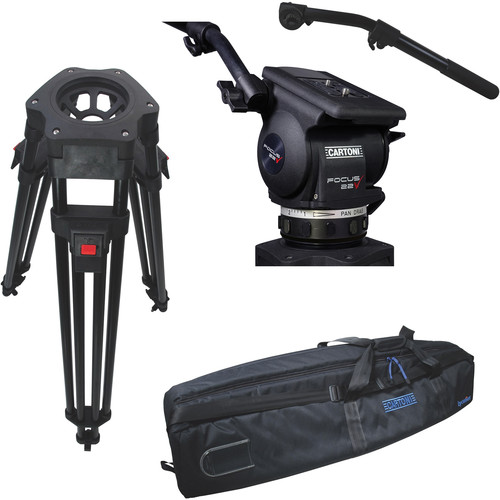 Cartoni Focus 22 Fluid Head with H601 Tripod Legs, Mid-Spreader and 2nd Pan Bar (100mm)