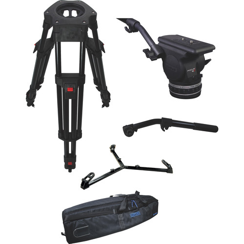 Cartoni Focus 18 Fluid Head with H604 Tripod Legs, Ground Spreader and 2nd Pan Bar (100mm)