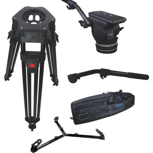 Cartoni Focus 18 Fluid Head with H601 Tripod Legs, Ground Spreader and 2nd Pan Bar (100mm)