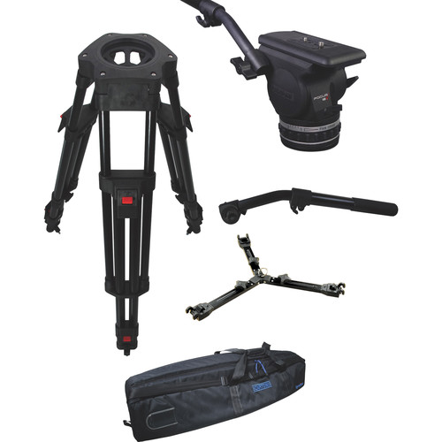 Cartoni Focus 18 Fluid Head with H602 Tripod Legs, Mid Spreader and 2nd Pan Bar (100mm)