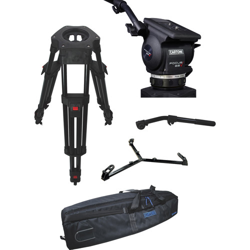 Cartoni Focus 22 Fluid Head with H602 Tripod Legs, Ground Spreader and 2nd Pan Bar (100mm)