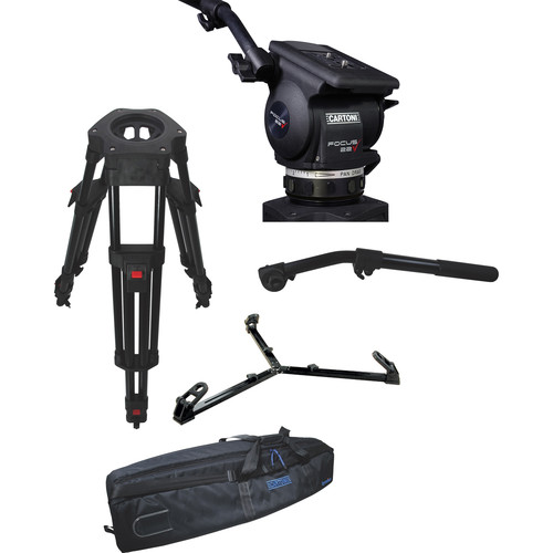 Cartoni Focus 22 Fluid Head with H604 Tripod Legs, Ground Spreader and 2nd Pan Bar (100mm)