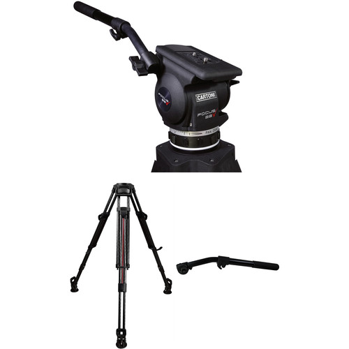 Cartoni Focus 22 Fluid Head & T628 2-Stage Smart-Stop Aluminum Tripod System with 2nd Pan Bar