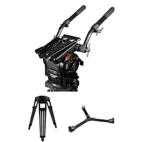 Cartoni Master 40 Fluid Head & 1-Stage Aluminum Mitchell Flat Base Tripod with Ground Spreader