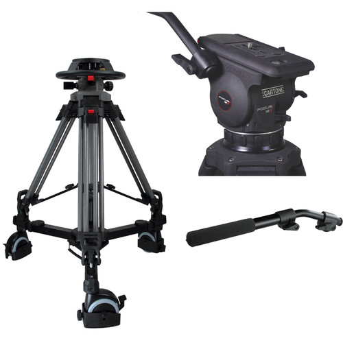 Cartoni Pedestal with Focus 12 Head, 2 Pan Bars, 100mm Adapter and Pump