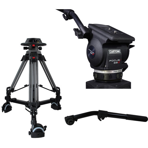 Cartoni Pedestal with Focus 22 Head, 2 Pan Bars, 100mm Adapter and Pump