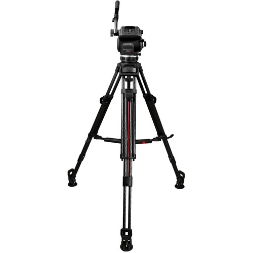 Cartoni Focus 22 Tripod System with 2-Stage Carbon Fiber Legs, Mid-Level Spreader, and Bag