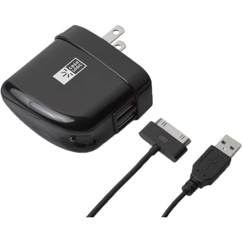 Case Logic 2.1A Dual USB Wall Charger with 30-Pin Cable (Black)