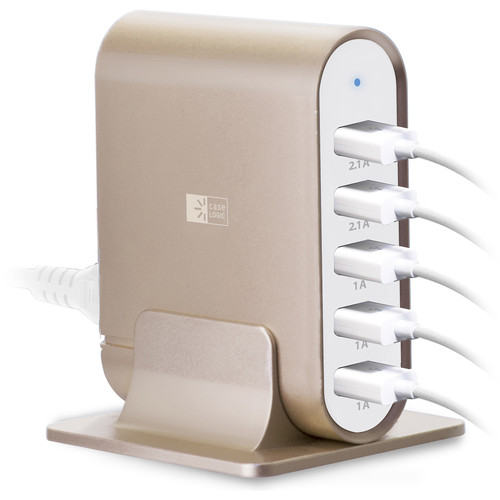 Case Logic 7.1A Five-Port USB Charging Station with Spiral Lightning Cable Kit (Gold, Gold Cable)