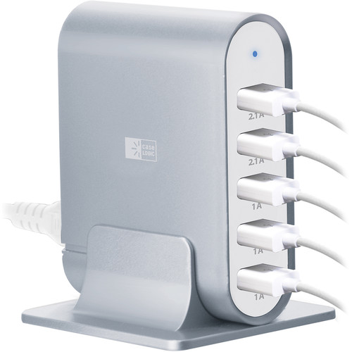 Case Logic 7.1A Five-Port USB Charging Station (Silver)