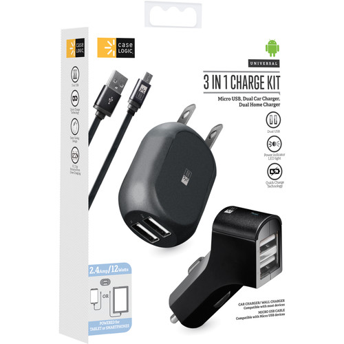 Case Logic 3-In-1 Home & Car Charging Kit with Micro-USB Cable (Black)
