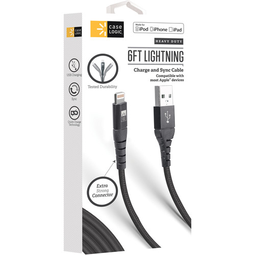 Case Logic Charge & Sync Lightning Cable with Reinforced Connector (6', Black)