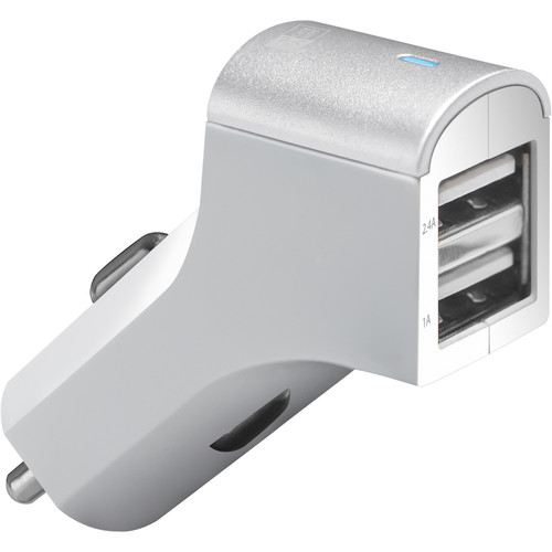 Case Logic 2.1A Dual USB Car Charger with Lightning Cable (White)