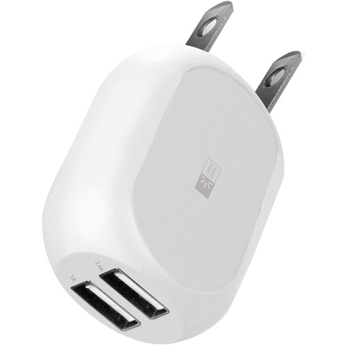 Case Logic 2.4A Dual USB Wall Charger with Lightning Cable (White)