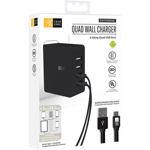 Case Logic 4.9A Quad USB Port Wall Charger with Micro-USB Cable (Assorted Colors)