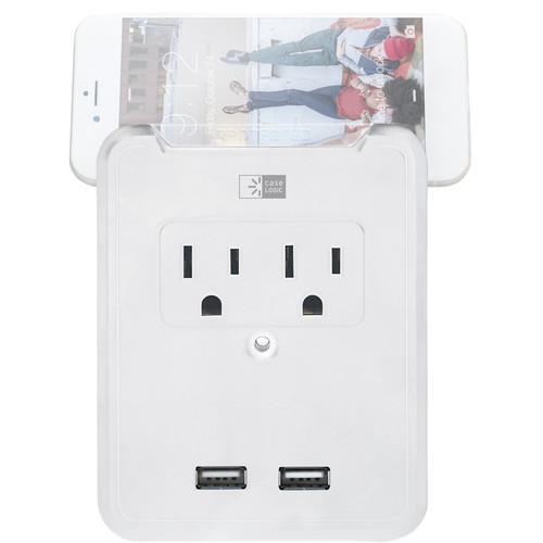 Case Logic ETL 2-Outlet/Dual-USB Wall Mount Charger Plate with Stand for Mobile Devices (2.4A, White)