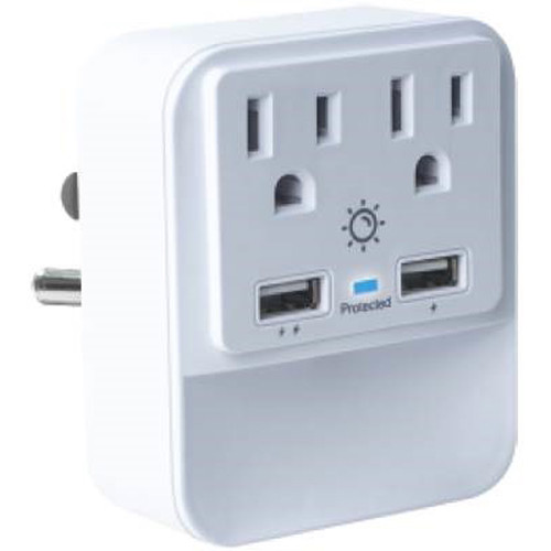 Case Logic 2.1A 2-Port USB and 2 AC Outlet Wall Mount Charger with LED (White)