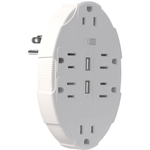 Case Logic Wall Plate Charger with 6 AC Outlets and 2 USB Ports (White)