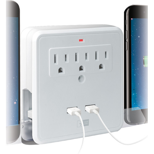 Case Logic Wall Plate Charger with 3 AC Outlets, 2 USB Ports & 2 Stands (White)
