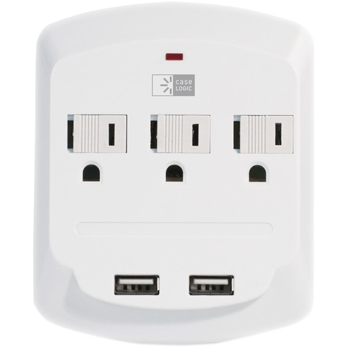 Case Logic ETL 3-Outlet/Dual-USB Wall Mount Charger Plate (3.1A, White)