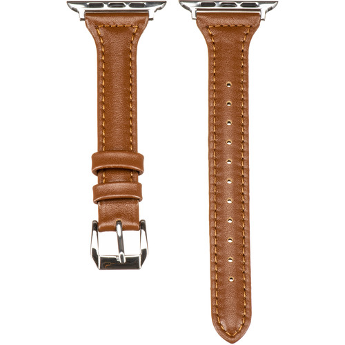 CASEPH Slim Genuine Leather Band for 42mm/44mm Apple Watch (Brown)