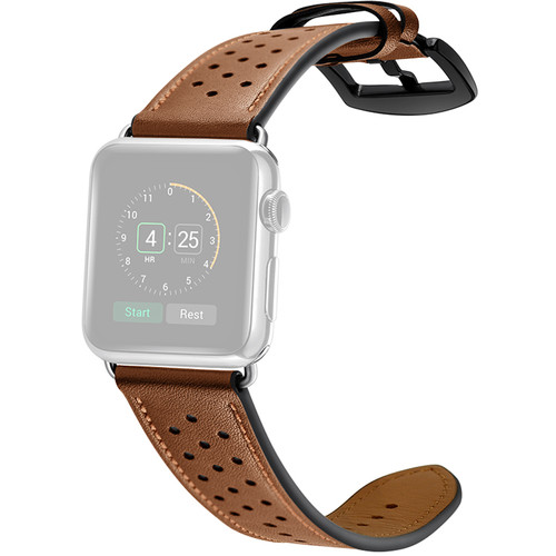 CASEPH Genuine Leather Band for 38mm/40mm Apple Watch (Cowhide Brown)