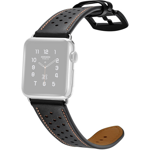 CASEPH Genuine Leather Band for 38mm/40mm Apple Watch (Hybrid Black)