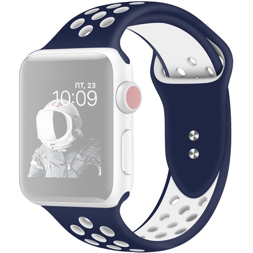 CASEPH Silicone Sport Band for 42mm/44mm Apple Watch (Blue/White)
