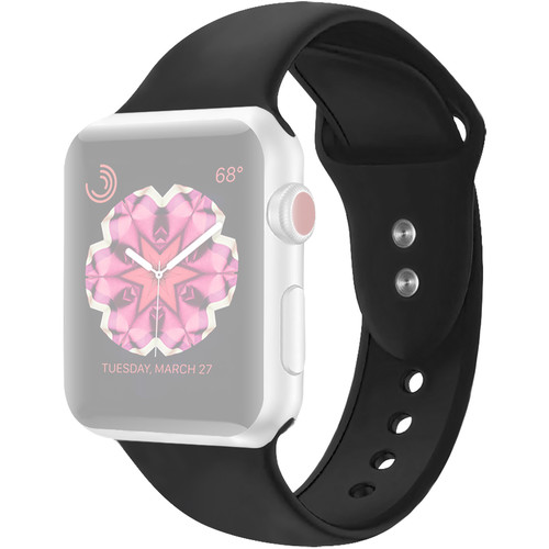 CASEPH Silicone Band for 38mm/40mm Apple Watch (Black)