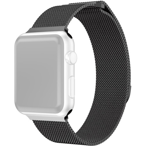CASEPH Stainless Steel Mesh Band for 42mm/44mm Apple Watch (Black)