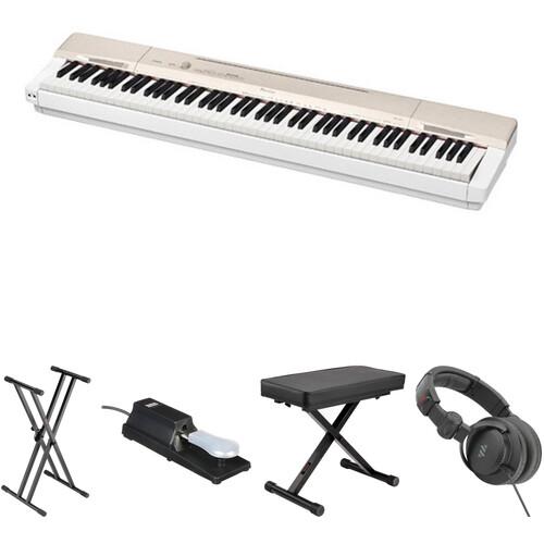 Casio PX-160 88-Key Digital Piano Essentials Bundle (Gold)