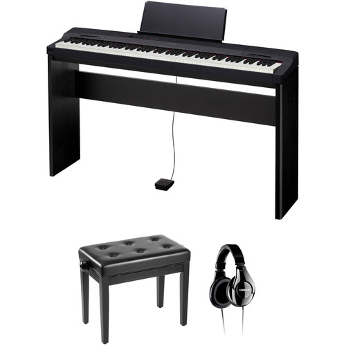 Casio PX-160 Privia 88-Key Digital Piano with Stand, Bench & Accessories (Black)