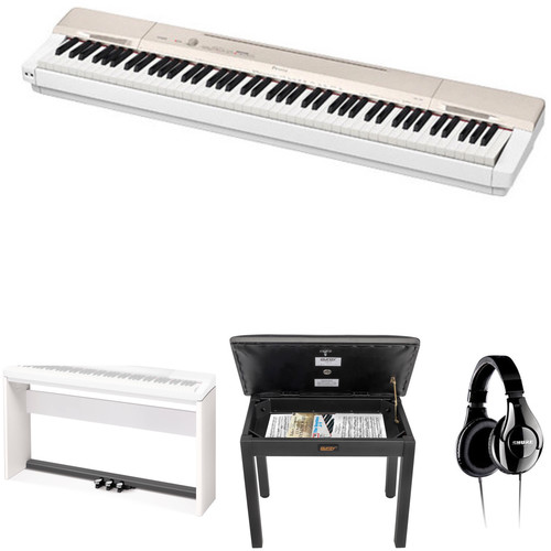 Casio PX-160 Privia 88-Key Digital Piano with Stand, Bench & Accessories (Gold)