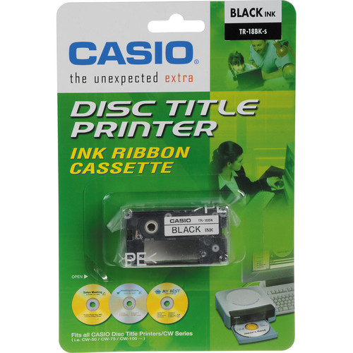Casio TR-18BK Black Ink Ribbon Cassette Kit for CW-50 & CW-75 CD Label Printers (3-Pack)