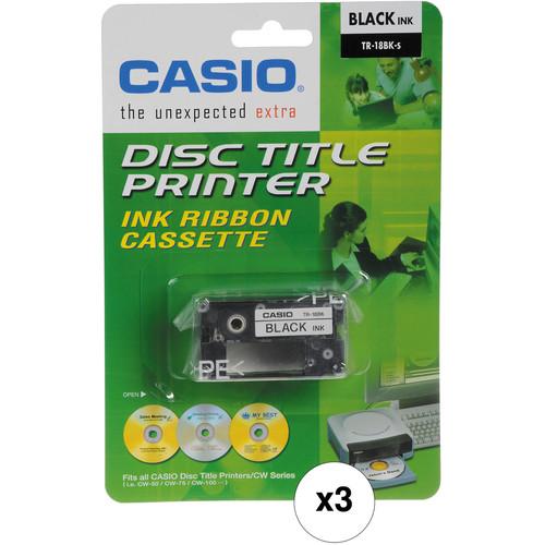 Casio TR-18BK Black Ink Ribbon Cassette Kit for CW-50 & CW-75 CD Label Printers (3-Pack)
