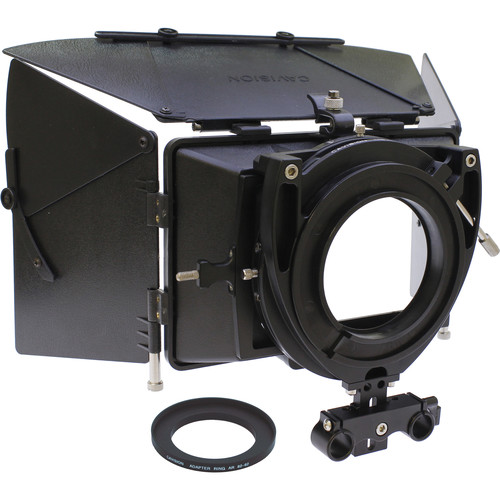 Cavision 4 x 5.65 Matte Box Kit with Accessories & Dual-Rod Bracket with T-Part for Select Sony/JVC Cameras
