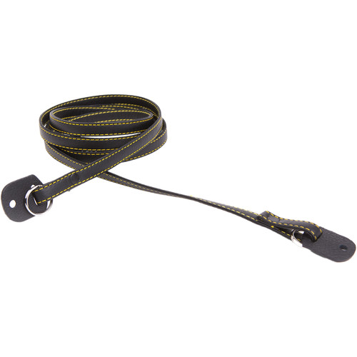 Cecilia Gallery Narrow Leather Camera Strap (Black with Yellow Stitching)