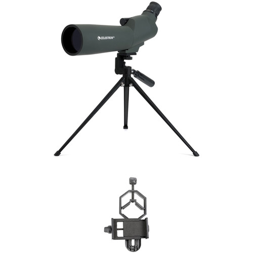 Celestron 20-60x60 Zoom Refractor Spotting Scope and Smartphone Adapter Kit (Angled Viewing)