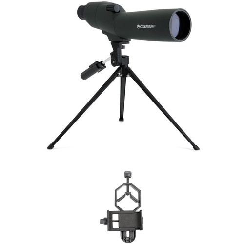 Celestron 20-60x60 Zoom Refractor Spotting Scope and Smartphone Adapter Kit (Straight Viewing)