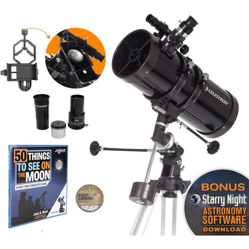 Celestron PowerSeeker 127EQ 127mm f/9 Reflector Telescope, Apollo 11 50th Anniversary Bundle