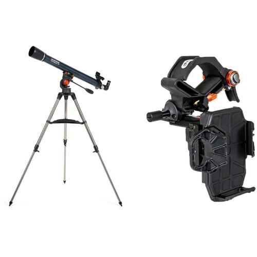 Celestron AstroMaster 70AZ 70mm f/13 Alt-Az Refractor Digiscoping Telescope Kit