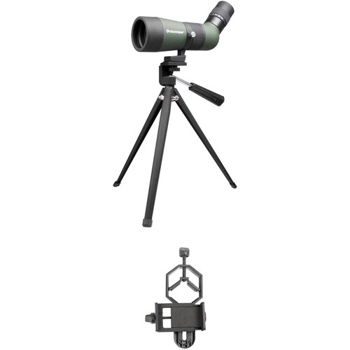 Celestron LandScout 10-30x50 Spotting Scope and Smartphone Adapter Kit (Angled Viewing)