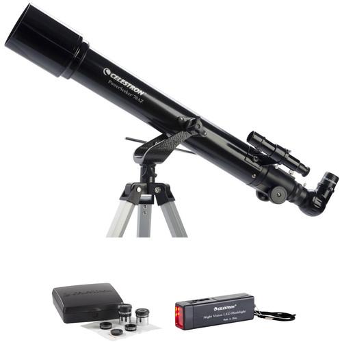 Celestron PowerSeeker 70 70mm f/10 AZ Refractor Telescope and Accessory Kit