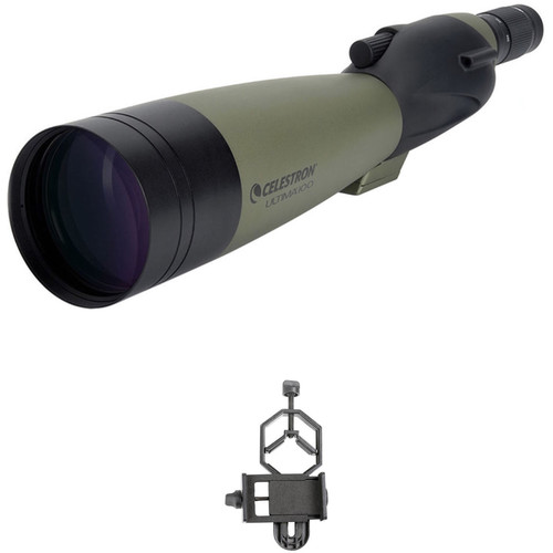 Celestron Ultima 100 22-66x100mm Spotting Scope and Smartphone Adapter Kit (Straight Viewing)